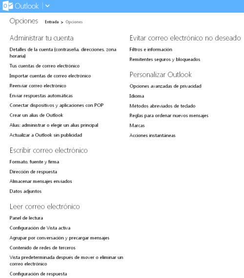 Outlook  - Opciones de configuración