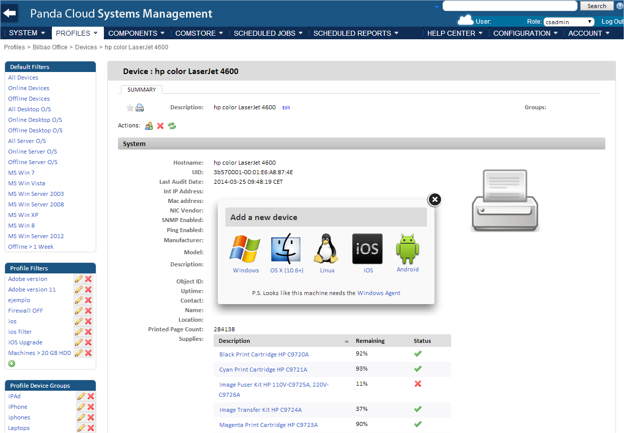 Entre las ventajas de la nueva versión de Panda Cloud Systems Management destaca la inclusión de soporte SNMP para impresoras