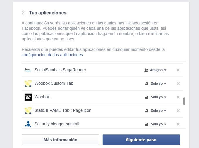 Compración privacidad aplicaciones Facebook