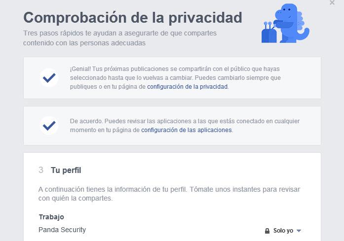 Compración privacidad información Facebook