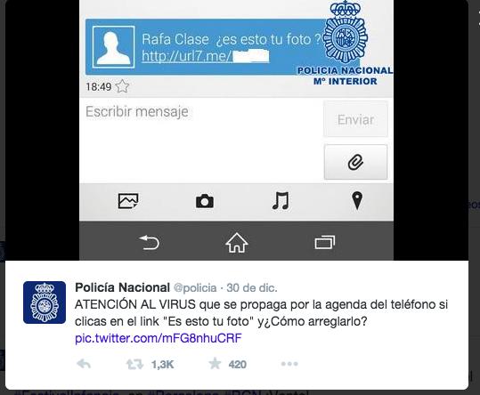 Virus SMS tweet de la Policia