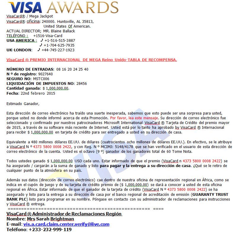 visa awards