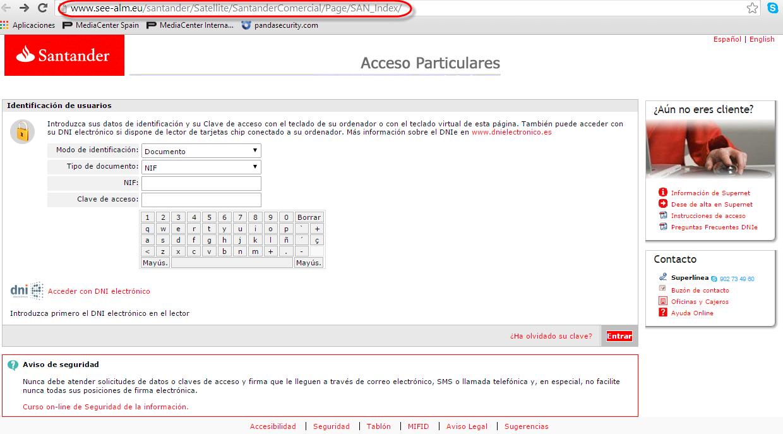 web santander phishing