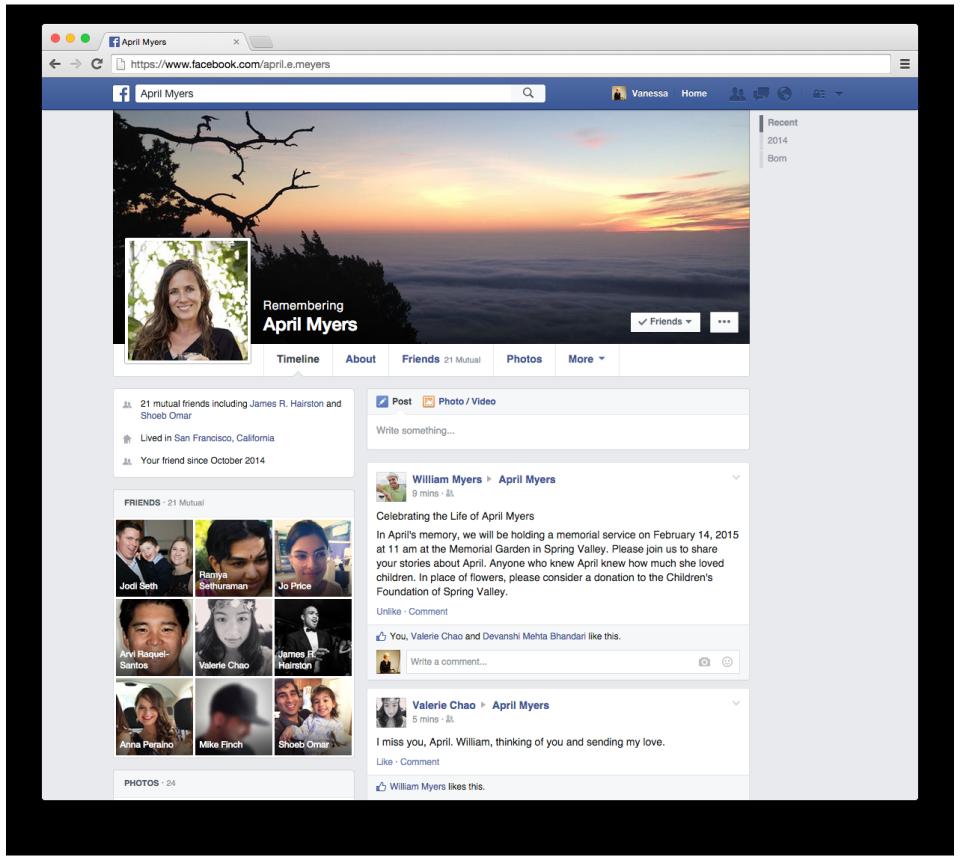 perfil conmemorativo facebook