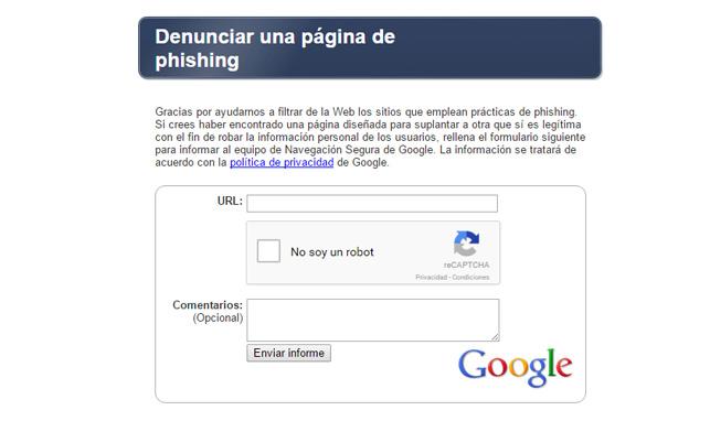 denunciar pagina phishing