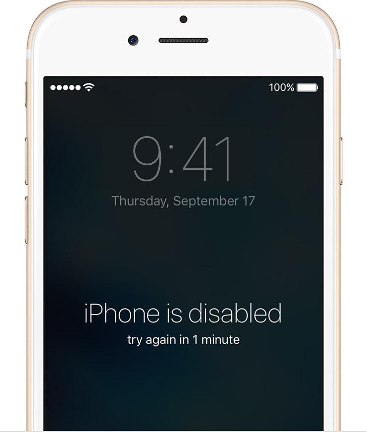 iphone deshabilitado