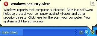 Message simulating a Windows Security Alert