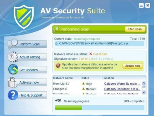 Scan carried out by AVSecuritySuite