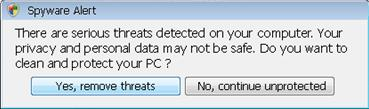 Alert message displayed by AVSecuritySuite