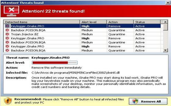 Warning message displayed by Antivirus7
