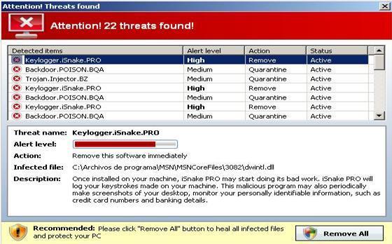 Warning message displayed by Antivirus7