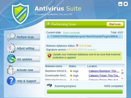 AntivirusSuite interface