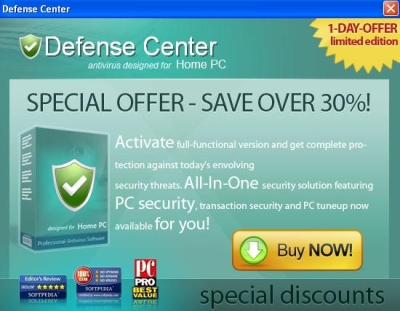 Advertising pop-up displayed by DefenseCenter