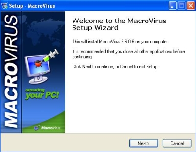Installation window of MacroVirus