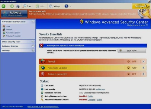 SecurityAntivirus interface