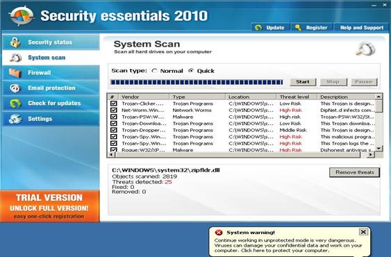 Interface of SecurityEssentials2010