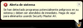Alert message displayed by SecurityMasterAV