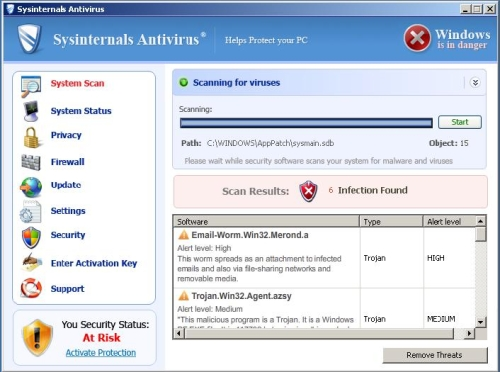 Interface of SysinternalsAntivirus