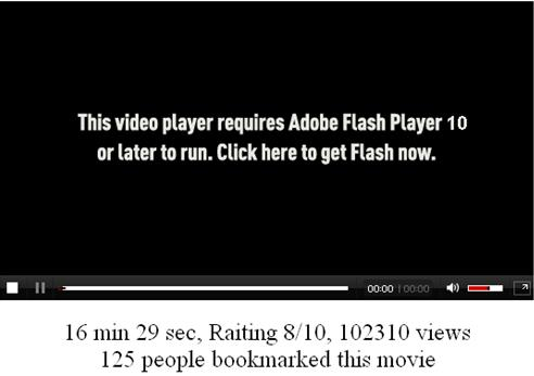 Message requiring the installation of a new Flash Player version