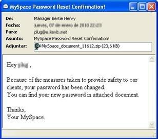 Mensaje de MySpace en el que se distribuye Sinowal.WTF