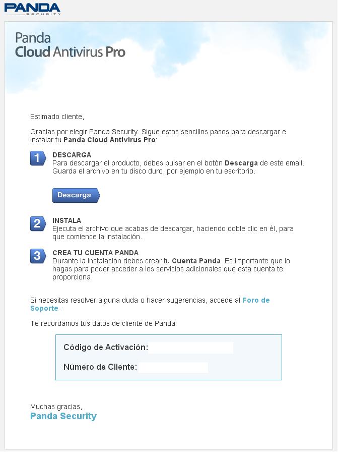 Correo de bienvenida de Cloud AV