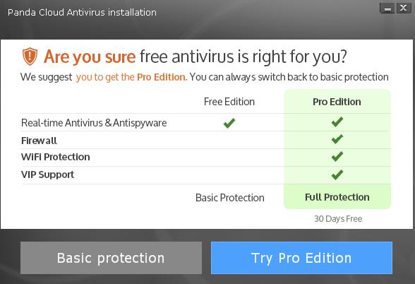 Panda Cloud Antivirus switch to Pro