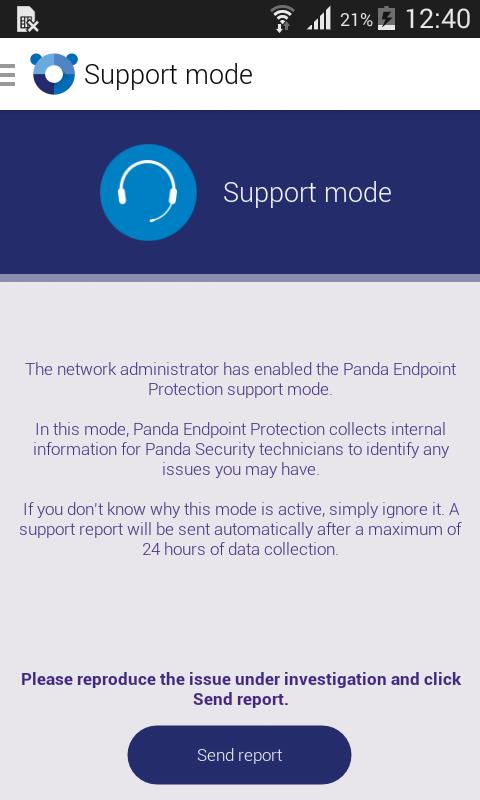 Mensaje Enviar reporte desde el dispositivo Android
